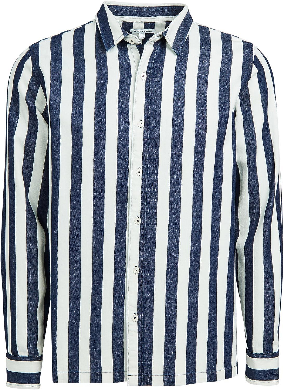 Banks Journal Men's Percussion Chambray Stripe Shirt, White/Navy, X-Large