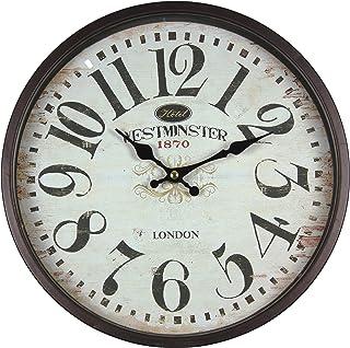 comprar comparacion Perla PD Design - Reloj de pared de metal lacado con esfera de cristal y diseño vintage Diámetro de 30cm., metal, Westmin...