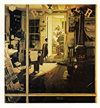 Olde Time Mercantile Shuffleton's Barbershop 1950 Norman Rockwell Print - 8 in x 9 in - Matted to 11 in x 14 in - Mat Colors Vary