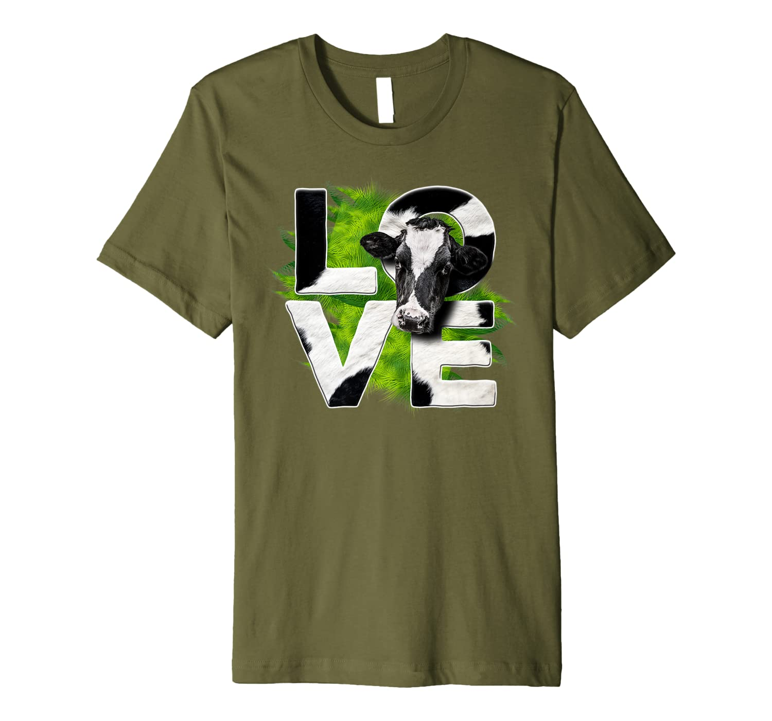 Cute Love Cow Green Grass For Cow Lovers Funny Gift Premium T-Shirt-TH