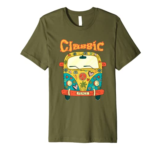 9f14a3952348 Amazon.com: Hippie Bus - Peace and Love Hippie Bus T-Shirt: Clothing