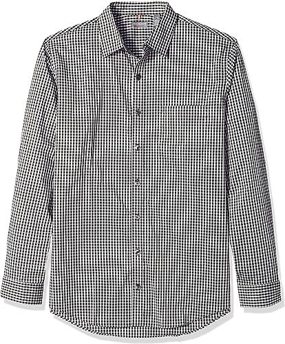 Van Heusen Hommes's Taille Big and Tall voyageer Stretch Non Iron manche longue Shirt, Deep noir Minicheck, grand Tall