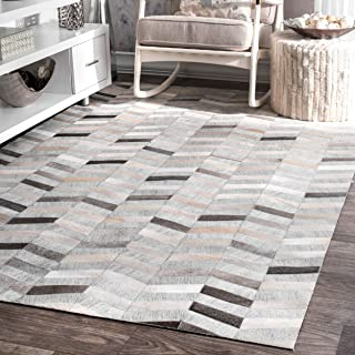 nuLOOM 200TXAL01A-508 Modern Cowhide Patchwork Area Rug, 5' x 8', Silver