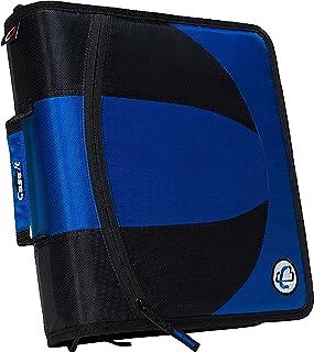 Case-it 2-in-1 Zipper D-Ring Dual Binder, 2 Sets of 2-Inch Rings, Blue, DUAL-301-BLU