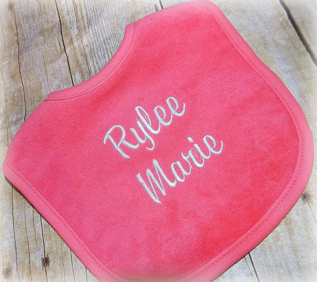 Embroider personalized baby bib
