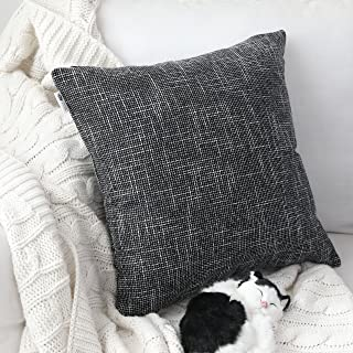 Kevin Textile Set of 2 Decorative Pillows Covers for Couch Star Faux Linen Sofa Pillows Cover 24 x 24 inch, 61x61cm, Black