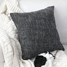 """Kevin Textile Star Lined Linen Soft Solid Throw Cushion Pillow Covers, Polyester & Polyester Blend, Black, 26""""x26"""",Single ..."""