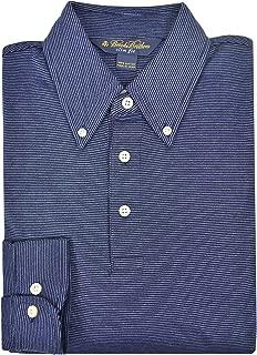 Men's Slim Fit Three Button Long Sleeve Polo Button Shirt Dark Blue Striped