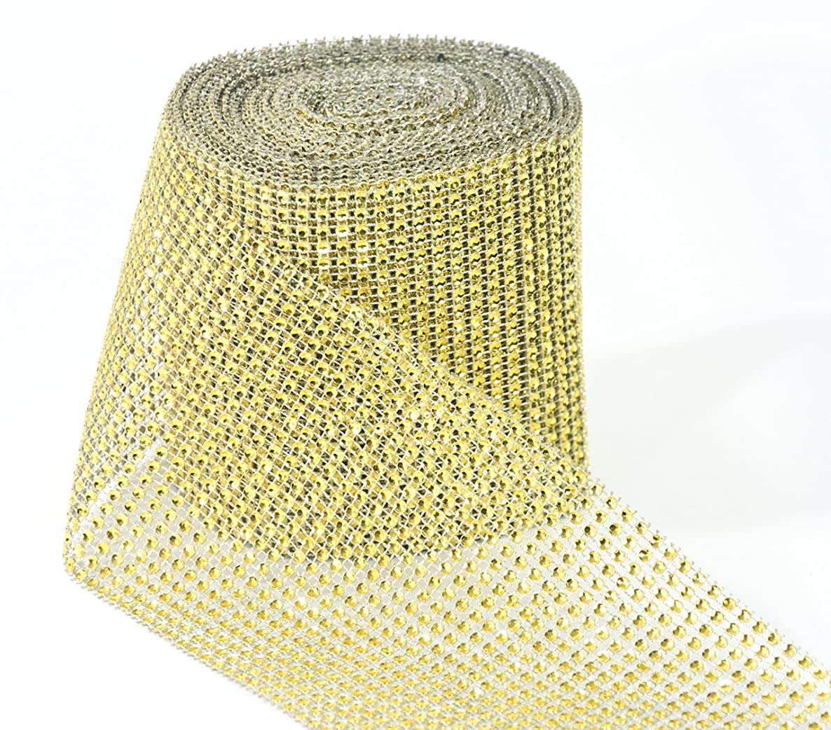 ALL in ONE 10 Yards/30ft Sparkling Faux Rhinestone Ribbon Wrap for DIY Craft Wedding Party Events Decoration (Gold)