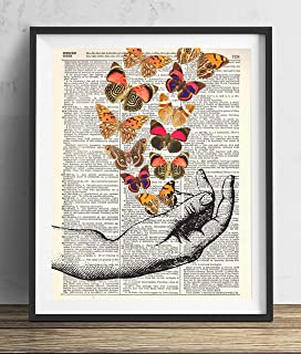Hand With Butterflies (#2) Vintage Dictionary Art Print 8x10