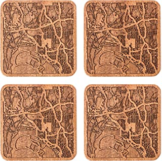 San Diego, CA Map Coaster by O3 Design Studio, Set Of 4, Sapele Wooden Coaster With City Map, Handmade