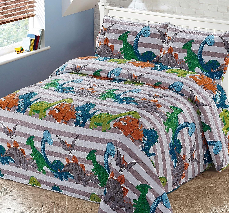 3pc Full//Queen Bedspread Coverlet Quilt Set for Kids Multi-Color Dinosaurs Stripe Quilt Grey Orange White Green Blue.