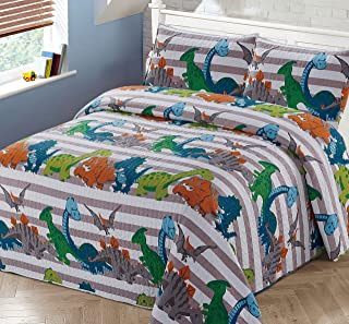 2pc Twin Bedspread Coverlet Quilt Set Kids/Teens Childrens Multi-Color Dinosaurs Stripe Quilt Grey Orange White Green Blue All Dinosaurs New