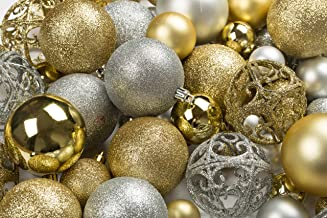 R N' D Toys 100 Gold and Silver Christmas Ornament Balls Shatterproof +100 Metal Ornament Hooks, Hanging Ornaments for Ind...