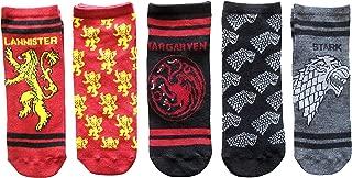 Game of Thrones Stark Lannister Targaryan Juniors/Womens 5 Pack Ankle Socks