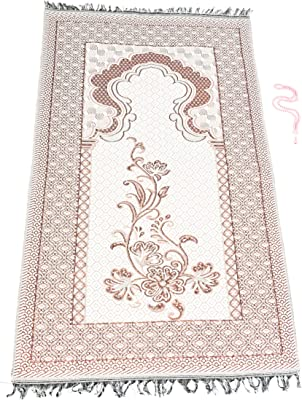 Muslim Prayer Rug for Women and Men, Traditional Islamic Praying Mat for Muslims, Foldable and Portable Janamaz for Men and Women with Prayer Beads (Pink)