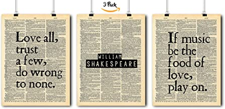 Famous Quotes Art - William Shakespeare- 3 Print Set - Vintage Dictionary Print 8x10 Home Vintage Art Prints Wall Art for ...