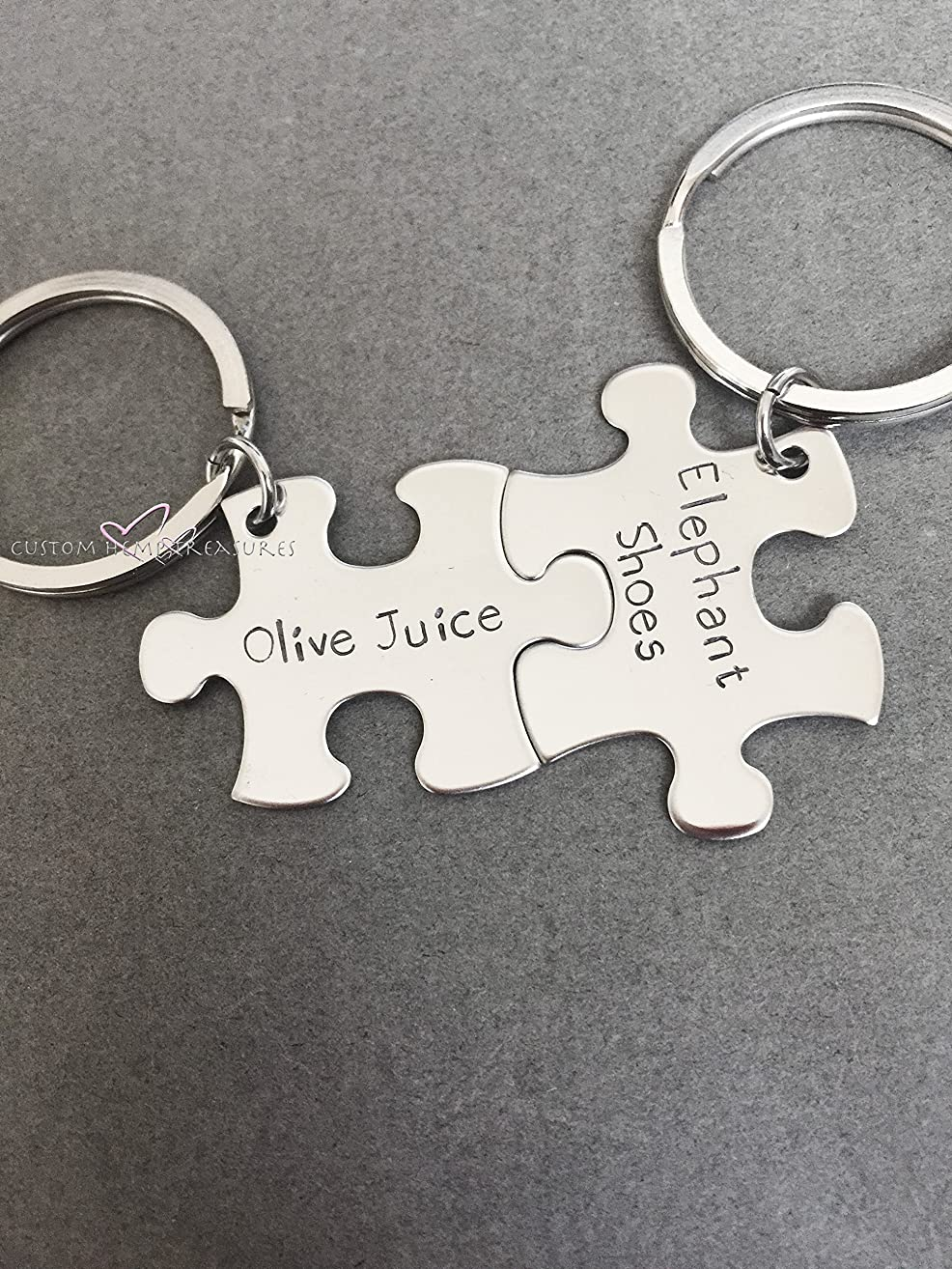 Olive Juice Elephant Shoes, Couples Keychains, Couples Gift, Boyfriend Gift, Girlfriend Gift, Puzzle Piece Keychain Set, Steel Anniversary, Anniversary Gift, Stainless Steel Keychains, Couples Set