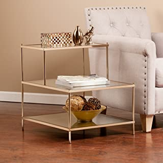 Knox Accent Table - Metallic Gold Metal Frame w/ Glass Tops - Glam Style Décor