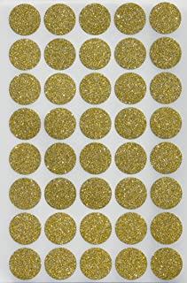 Royal Green Glitter Gold Circle Stickers 3/4 Diameter - Envelope Seals - 0.75 inch 19mm Rounds - 200 Pack