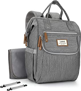 Iduola Diaper Bag Unique Stripe Baby Backpack with Changing Pad Stroller Straps