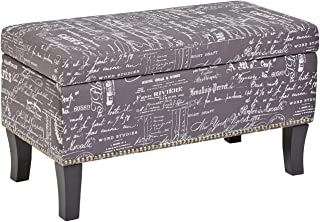First Hill Endora Rectangular Fabric Storage Ottoman with Script-Style Pattern - Storm Grey