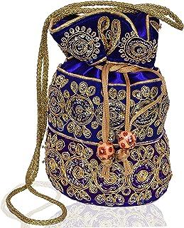 Purpledip Potli Tasche (Clutch, Kordelzug) für Frauen mit aufwendigem Goldfaden & Pailletten-Stickerei Arbeit