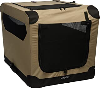 AmazonBasics Portable Folding Soft Dog Travel Crate Kennel - 18 x 18 x 26 Inches, Tan