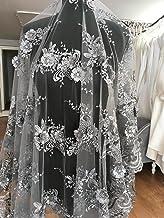 K1 - Vestido de novia/boda con flor bordada en 3D, tela de encaje, diseño de flores, 130 cm de ancho, color plateado, plata, 2 Yards