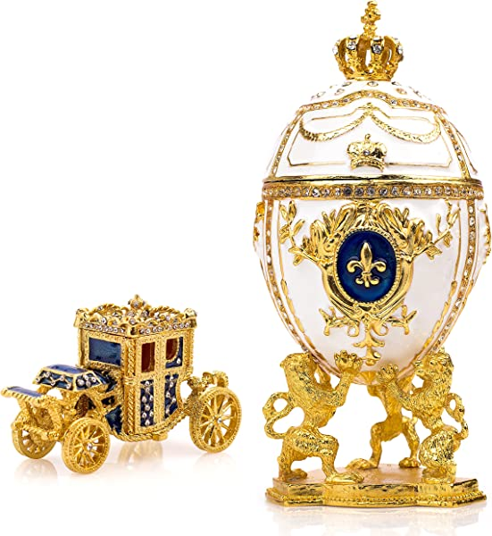 Unique Decorative White Faberge Egg Extra Large 6 6 Inches Hand Painted Jewelry Box For The Ultimate Home D Cor Comes With Gift Faberge Carriage Store Your Rings Earrings And Jewelry In Style