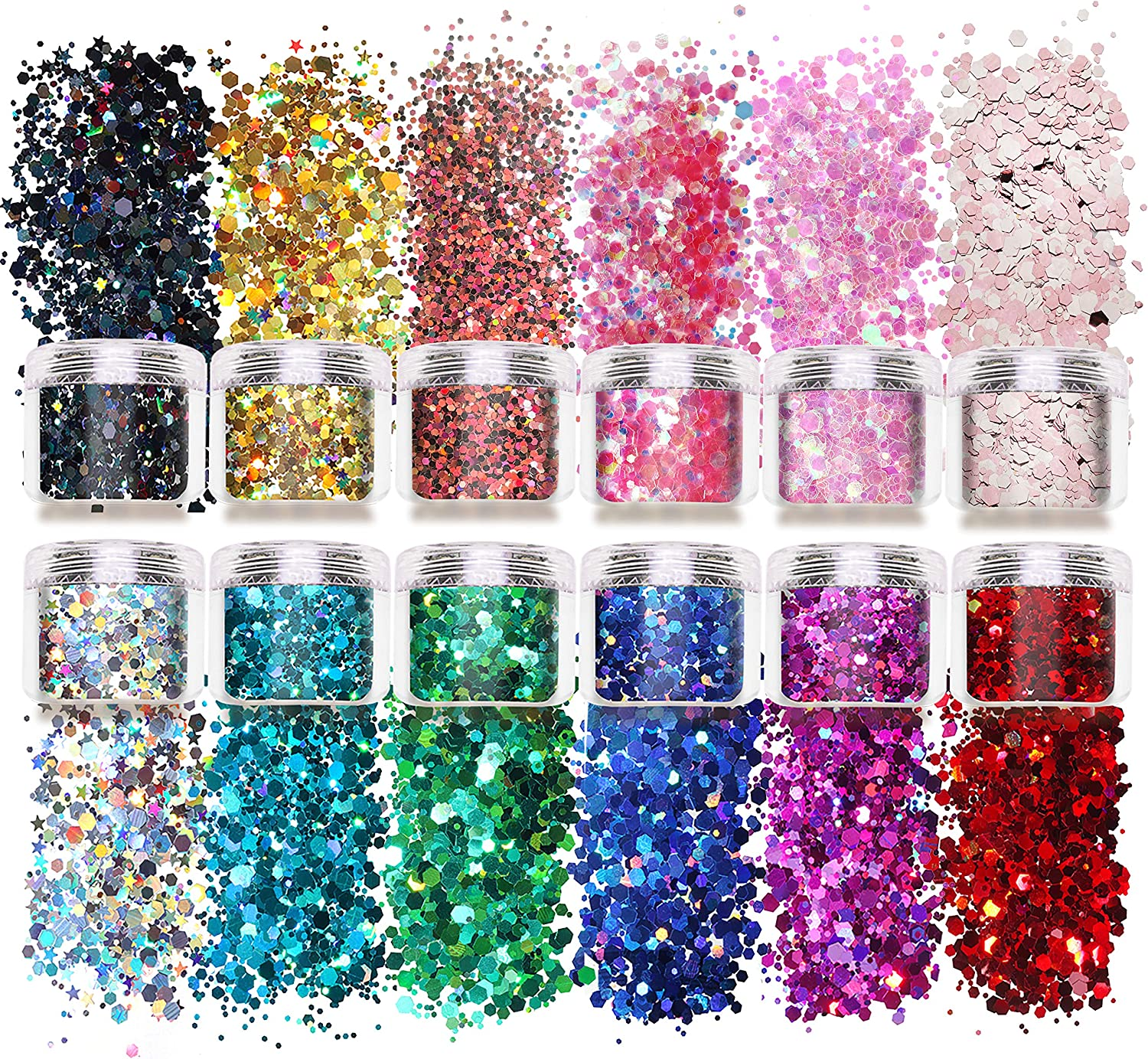 Laza 12 Color Glitter Body Art Acrylic Nails Powder Mixed Polish Chunky Sequins Iridescent Flakes Ultra-Thin Paillette Sparkles Set Tips 120g for Cosmetic Festival Arts Face Eyes Body Hair - Star : Beauty & Personal Care
