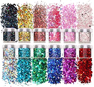 Laza 12 Color Glitter Body Art Acrylic Nails Powder Mixed Polish Chunky Sequins Iridescent Flakes Ultra-Thin Paillette Spa...