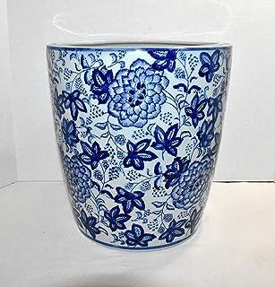 "New 10"" Blue & White Oriental Peony Flowers Oblong Top Ceramic Planter Pot"