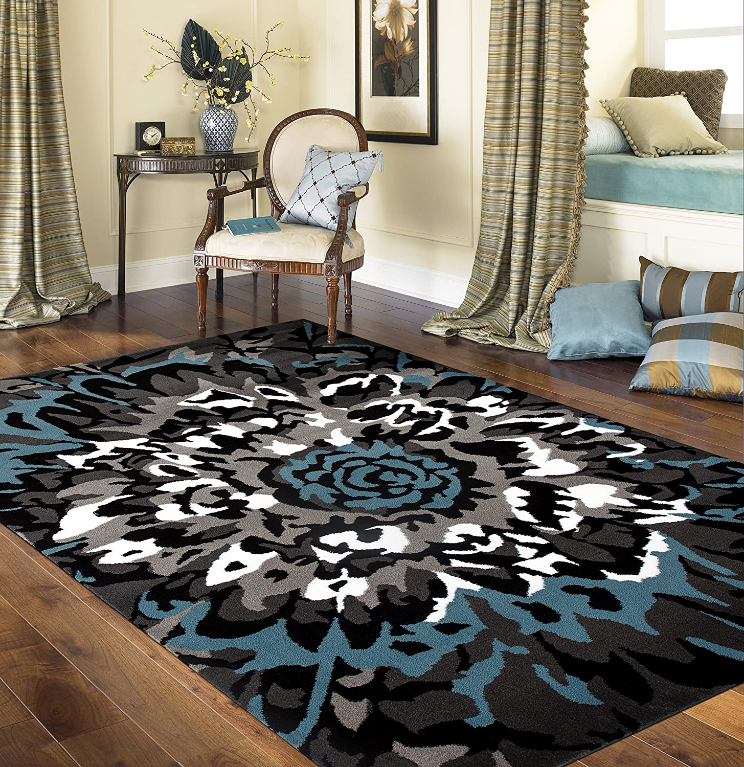 Modern Large Floral Pattern Area Rug 2' Latest item x Factory outlet 3' Gray Blue