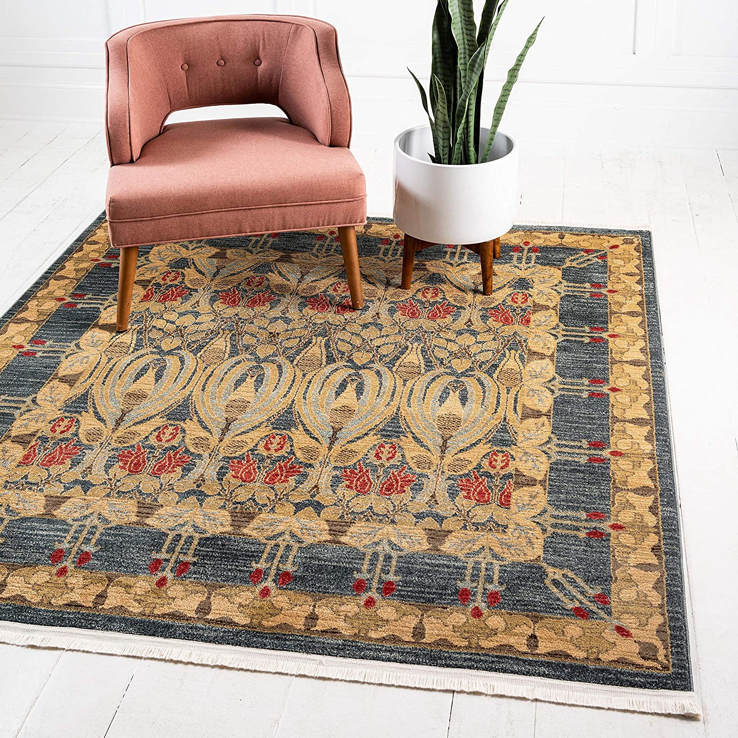 Unique Loom Edinburgh Collection Oriental Traditional French Country Square Rug, 10 Feet, Blue/Beige