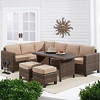 Better Homes & Gardens Brookbury 5-Piece Patio Wicker Sectional Set (Tan Cushions or Grey Cushions)
