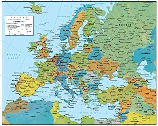 Europe Wall Map GeoPolitical Edition by Swiftmaps (18x22 Laminated)