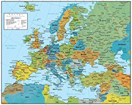 Swiftmaps Europe Wall Map GeoPolitical Edition by (24x30 Laminated)