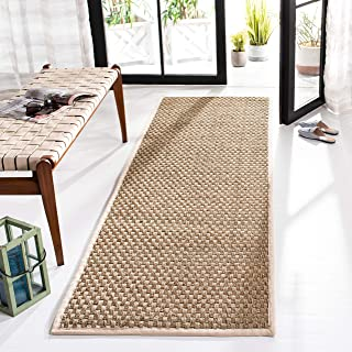 "Safavieh Natural Fiber Collection NF114J Basketweave Natural and Ivory Summer Seagrass Runner (2'6"" x 6')"