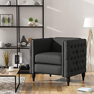 Christopher Knight Home Alice Modern Tufted Fabric Arm Chair, Dark Grey, Dark Brown