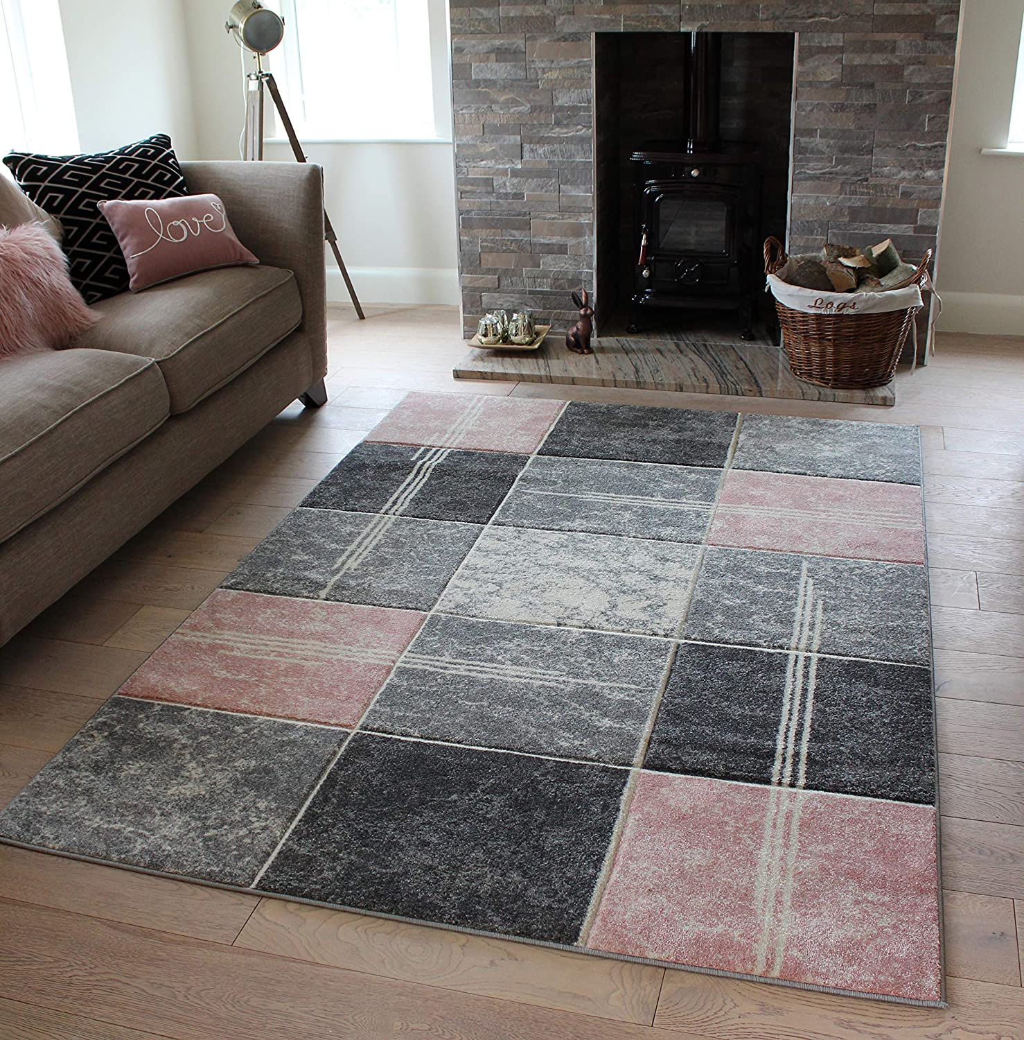 Small Large bluesh Baby Pink pink Silver Grey White Cream Modern Soft Thick Squares Blocks Design Carved Rugs Long Hall Runner Mats (6 (120x170cm)