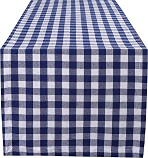 Life By Cotton 2Pack Gingham Check Table Runner 14x71- Navy White