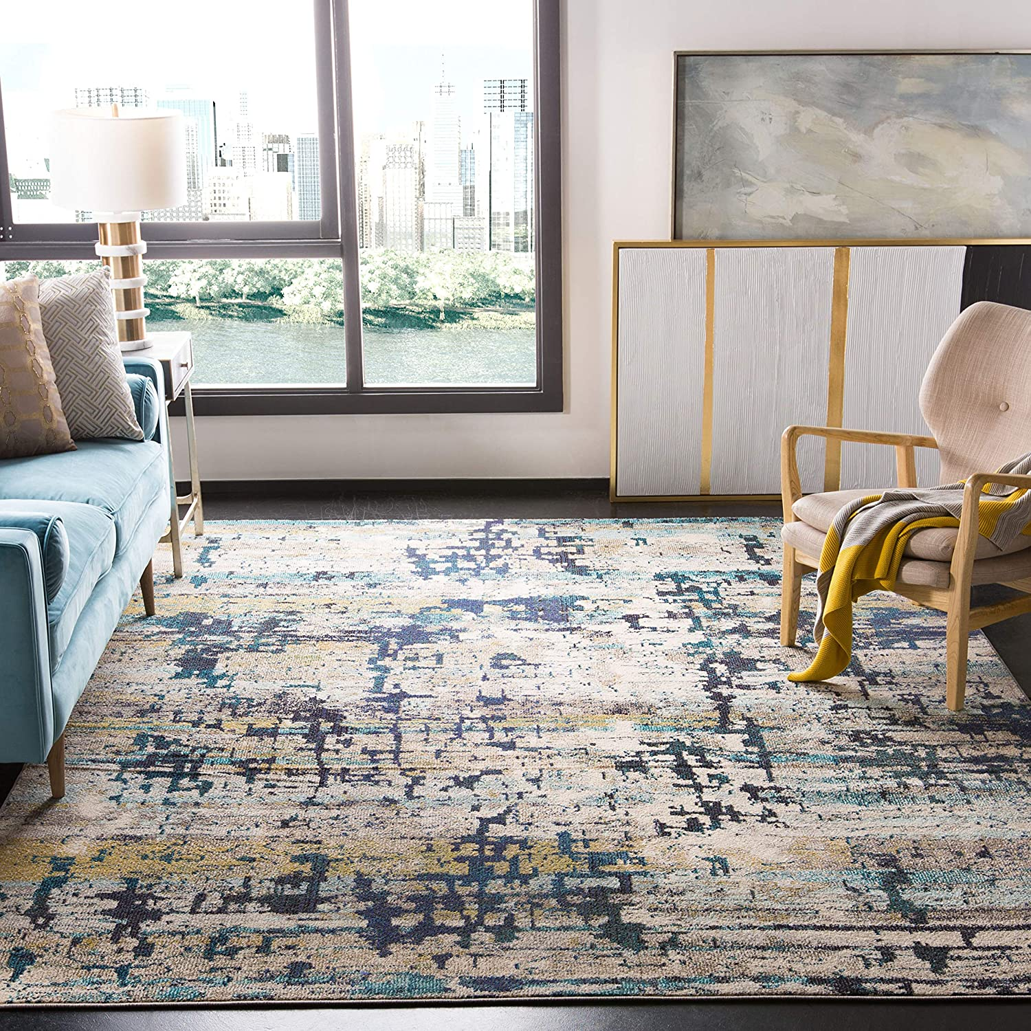 Safavieh Madison Collection MAD469B Modern Abstract Non-Shedding Stain Resistant Living Room Bedroom Area Rug, 9' x 12', Cream / Blue