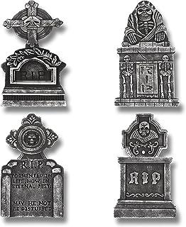 """Best Prextex Pack of 4 Halloween Décor 17"""" RIP Graveyard Lightweight Foam Tombstone Halloween Decorations RIP Review"""