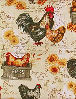"""Elrene Home Fashions Roosters, Chickens and Farm Fresh Eggs Vinyl Flannel Back Tablecloth (52"""" x 70"""" Oblong)"""
