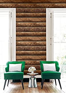 Rustic Stacked Log Cabin Wallpaper (Brown)