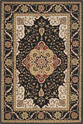 Safavieh Easy Care Collection EZC757E Hand-Hooked Area Rug, 6' x 9', Black / Cream