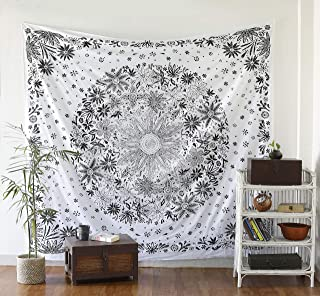 Labhanshi Black White Medallion Tapestry - Mandala Wall Hanging - Hippie Boho Bohemian Wall Decor Art - Queen Size Indian Cotton Bedspread for Bedroom Living Room