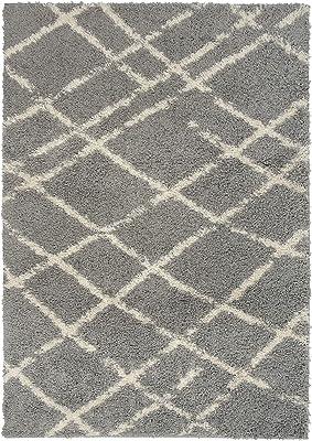 Rugshop Bondi Collection Contemporary Stripe Shag Area Rug 5' x 7' Silver