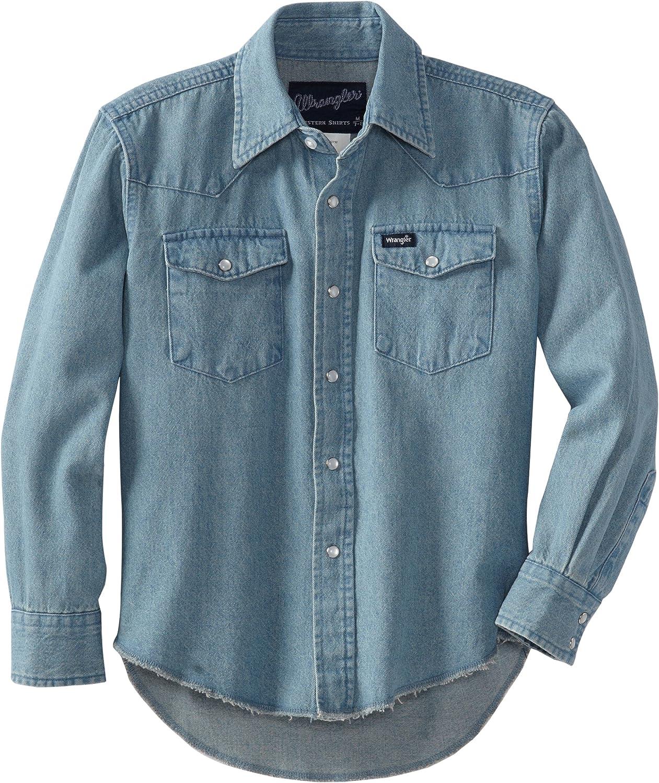Wrangler Boys' Long Sleeve Western Solid Snap Shirt